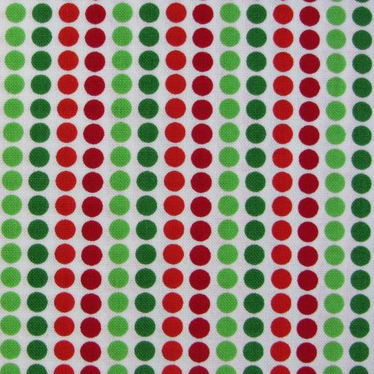Punkte Grün Rot Weiß Patchworkstoff