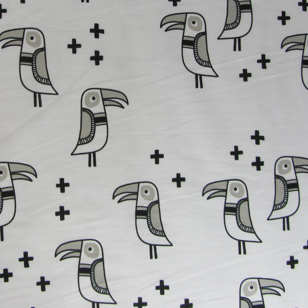 RESTSTÜCK 0,4m Hamburger Liebe Mono Bird SWEAT 1 Weiß Schwarz