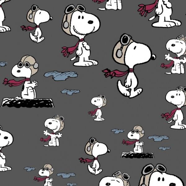 RESTSTÜCK 0,3m Biojersey The Peanuts Snoopy Pilot Grau