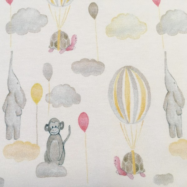 Biojersey Baby Luftballons Elefant Schildkröte Ecru