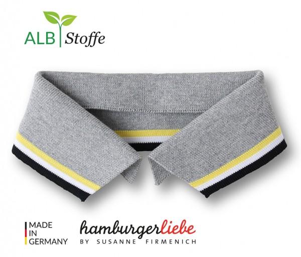 Polo Me College Kragen Hamburger Liebe Mittelgrau Giallino Weiß Schwarz