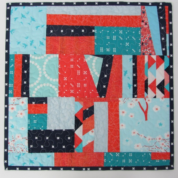 Patchwork Tischdecke Blau Orange Aqua