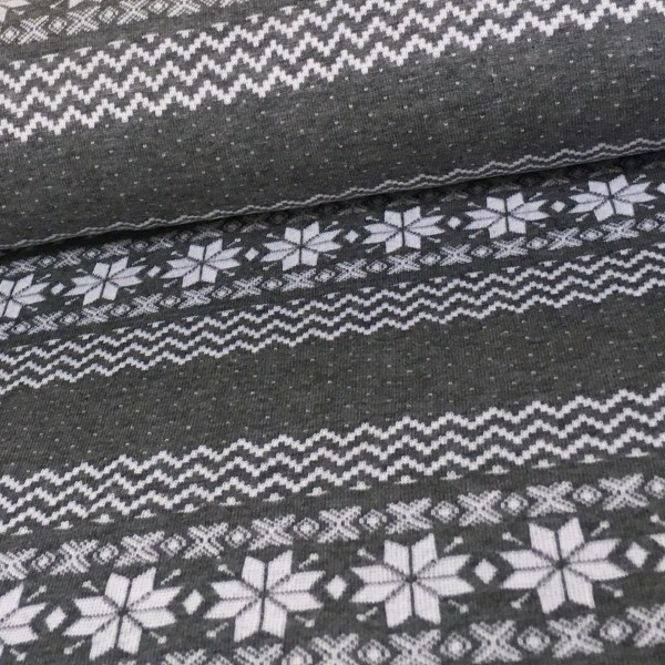 Einzigartig Norweger Bordüre Grau Weiß | Stoffbreite - Traumhafte Biostoffe  BZ75