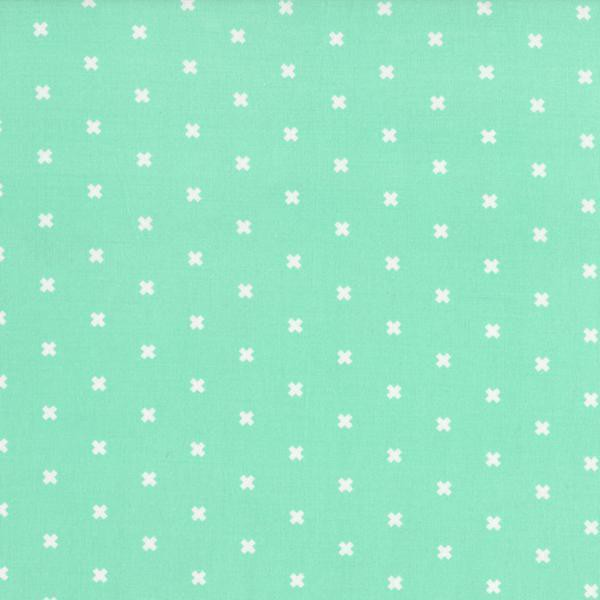 Cotton+Steel Kreuze Mint Weiß Patchworkstoff
