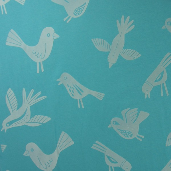 Hamburger Liebe Mono Birds Flock Print 3 Mint Caraibi