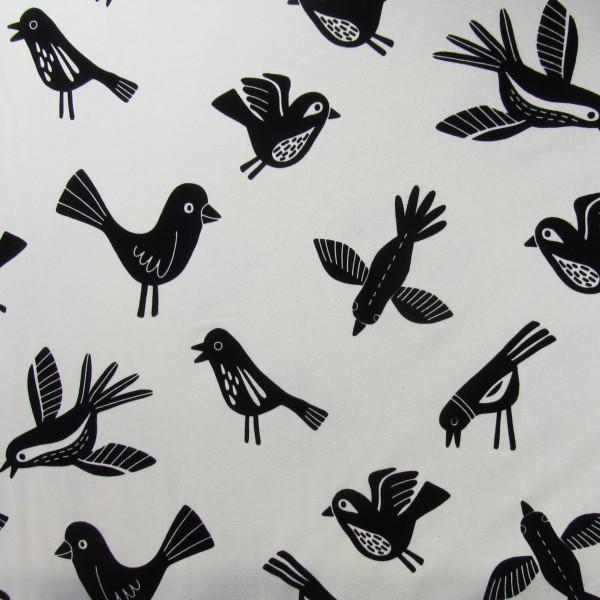 RESTSTÜCK 0,4m Hamburger Liebe Mono Birds Flock Print 1 Beige Schwarz
