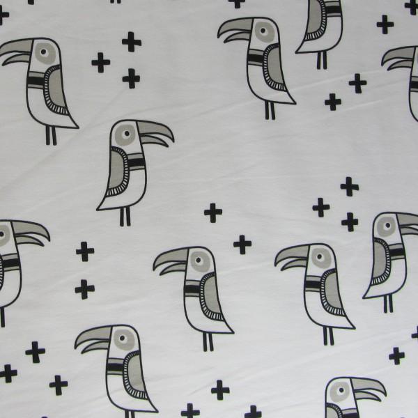 Hamburger Liebe Mono Bird JERSEY 1 Weiß Schwarz
