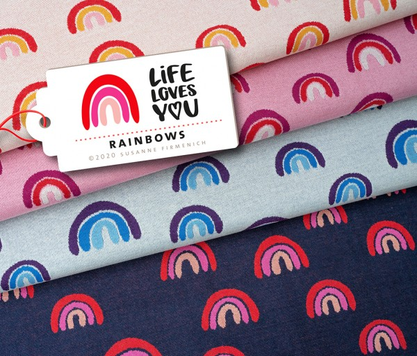 Life Loves You Rainbows Navy Blau