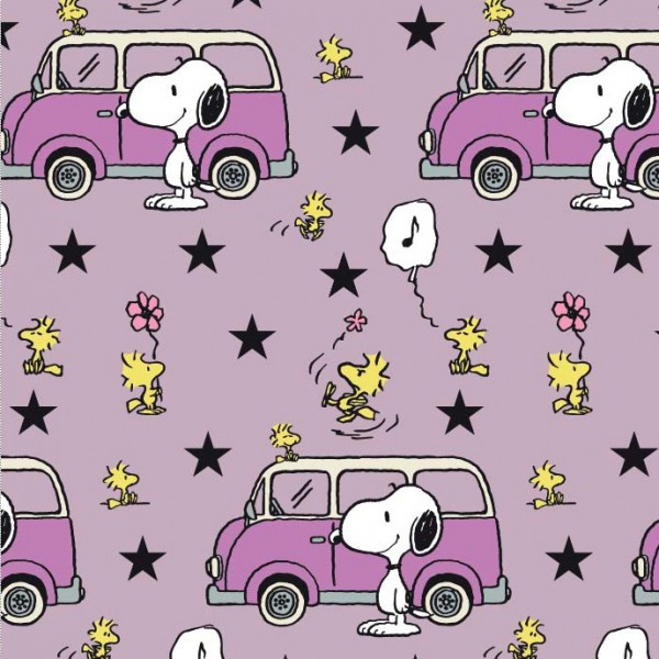 Biojersey Snoopy Peanuts Snoopy und Minivan flieder