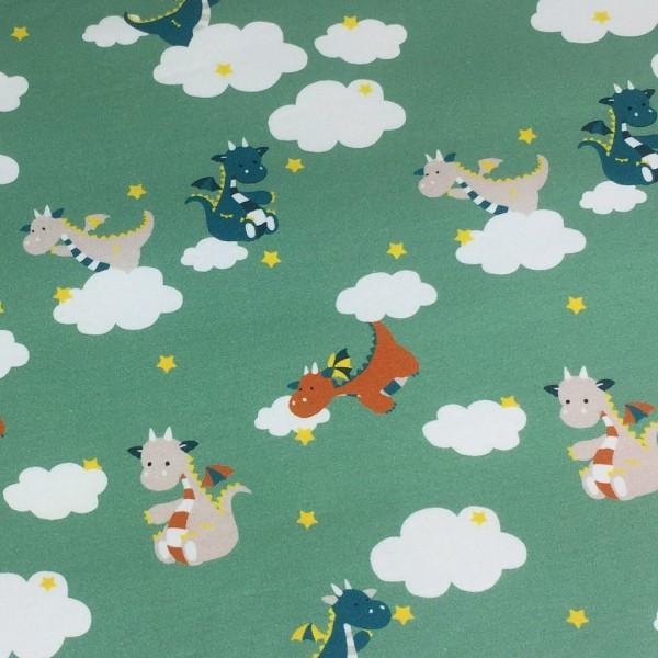 Biojersey Drachen Wolken Pistazie Grün