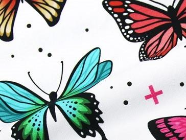 RESTSTÜCK 0,6m Wanderlust Butterfly JERSEY Weiß Bunt Schmetterlinge