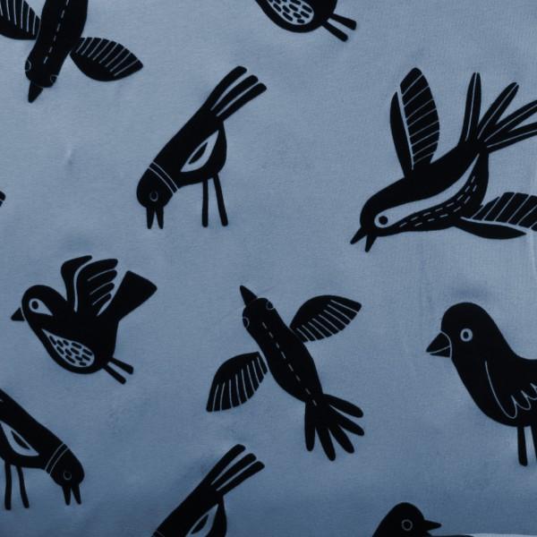 Hamburger Liebe Mono Birds Flock Print 4 Blau Garda Schwarz