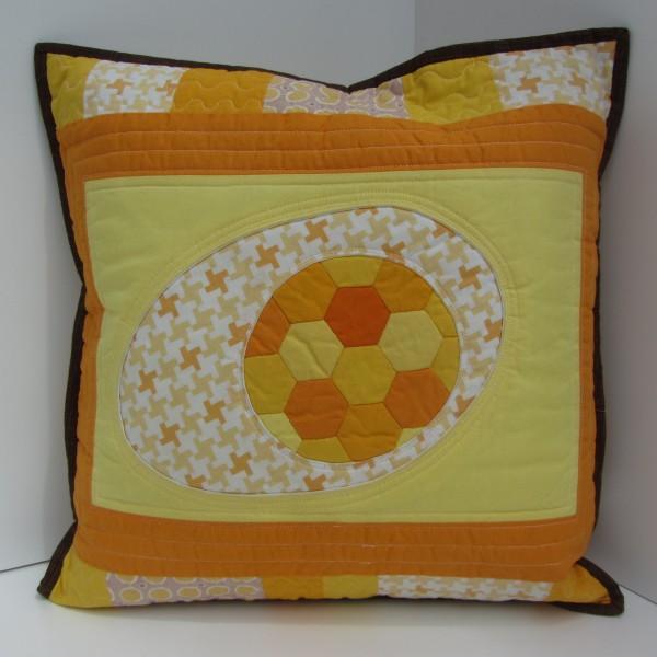 Patchworkkissen Orange Gelb