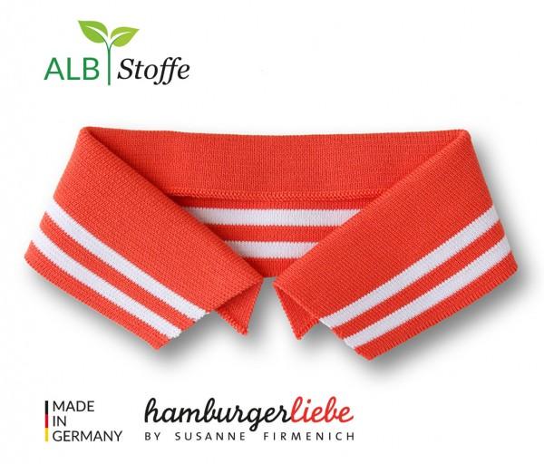 Polo Me College Kragen Hamburger Liebe Luce Rosso Weiß