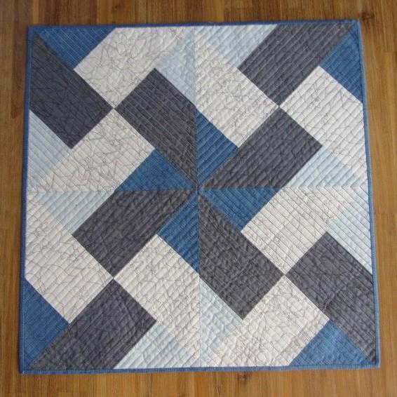 Patchwork Tischdecke Blau Grau Weiß