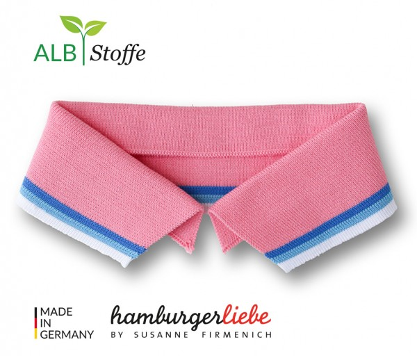 Polo Me College Kragen Hamburger Liebe Rosa Scuro Bluette Azzuro Weiß