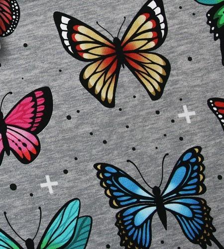 Wanderlust Butterfly JERSEY Grau Bunt Schmetterlinge